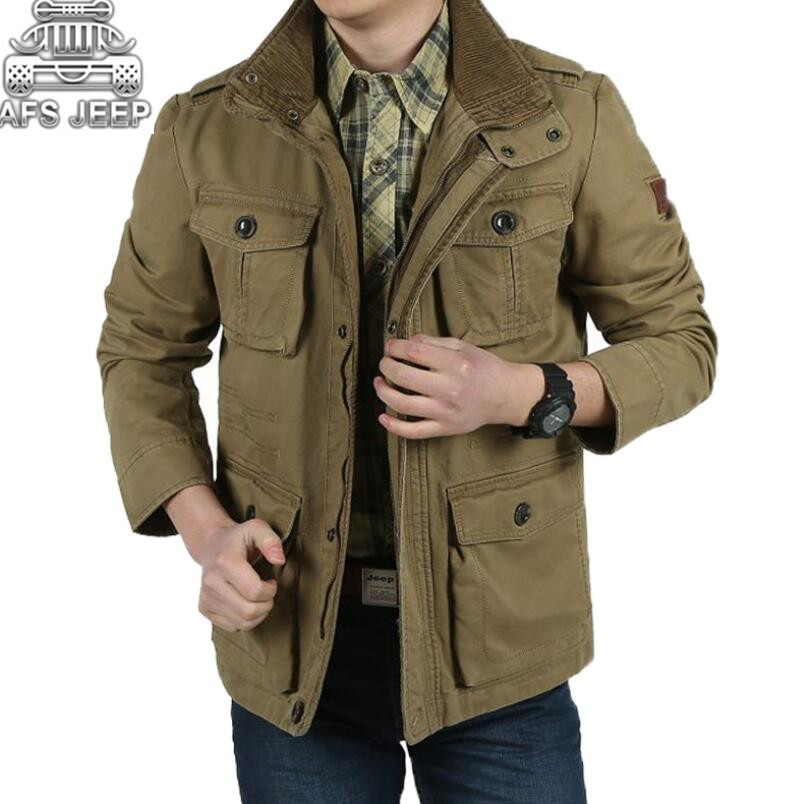 Jackets & Coats Jeep Spirit 2018 Autumn Spring Cargo Jackets Coat Cargo Safari Brand Bomber Clothes Long Sleeve Solid Color Fashion Jacket Volume Large