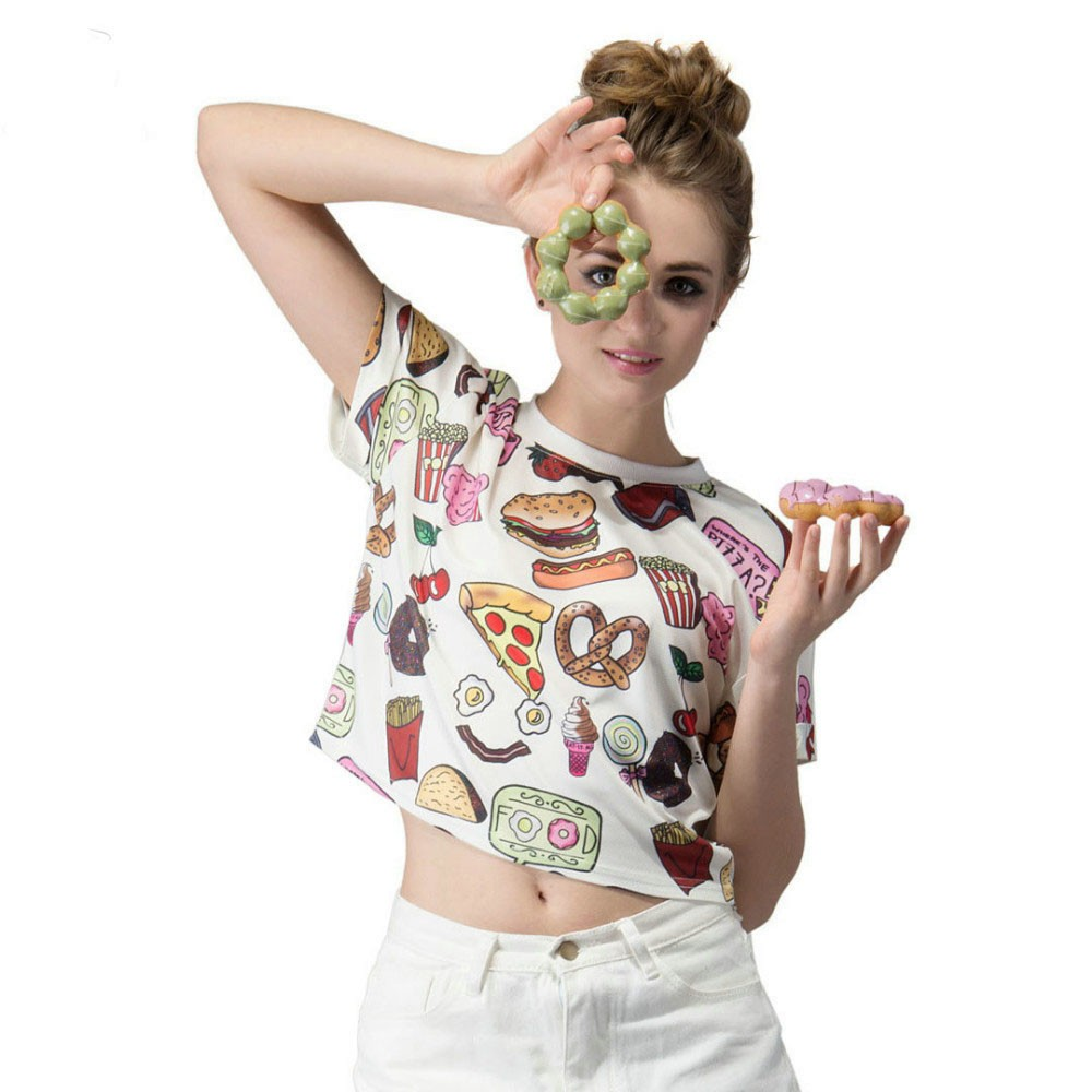 Fast Food Print T-Shirt Crop Top 1