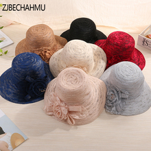 Fashion New Solid Vintage Elegant Floral Straw Sun Hats For Women Girl Summer Caps Wedding hat outdoor holiday beach hat fedoras все цены
