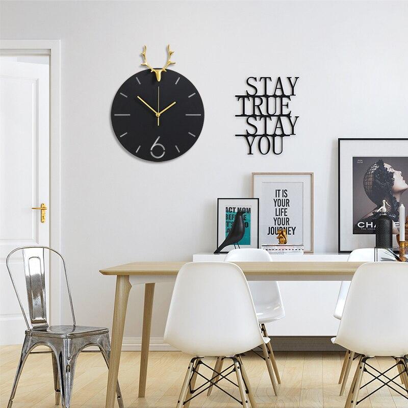 Nordic Style Deer Head Luxury Metal Gold/Black Round Wall Clock Modern Design Living Room Clocks Creative Art Animal Home Decor