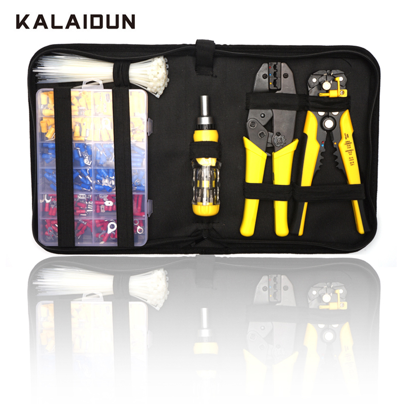 KALAIDUN Multi Tools Set Crimper Pliers 0.5-6mm AWG20-10 Ratcheting Terminal Wire Stripper Screwdriver Self Locking Cable TiesKALAIDUN Multi Tools Set Crimper Pliers 0.5-6mm AWG20-10 Ratcheting Terminal Wire Stripper Screwdriver Self Locking Cable Ties