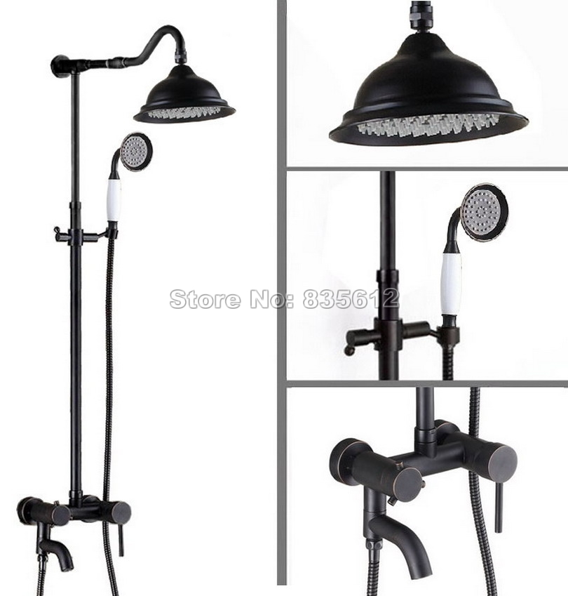 Wall Mounted Black Oil Rubbed Brass Bathroom Single Handle Tub Mixer tap Rain Shower Faucet Set + Ceramic Handheld Shower Wrs646