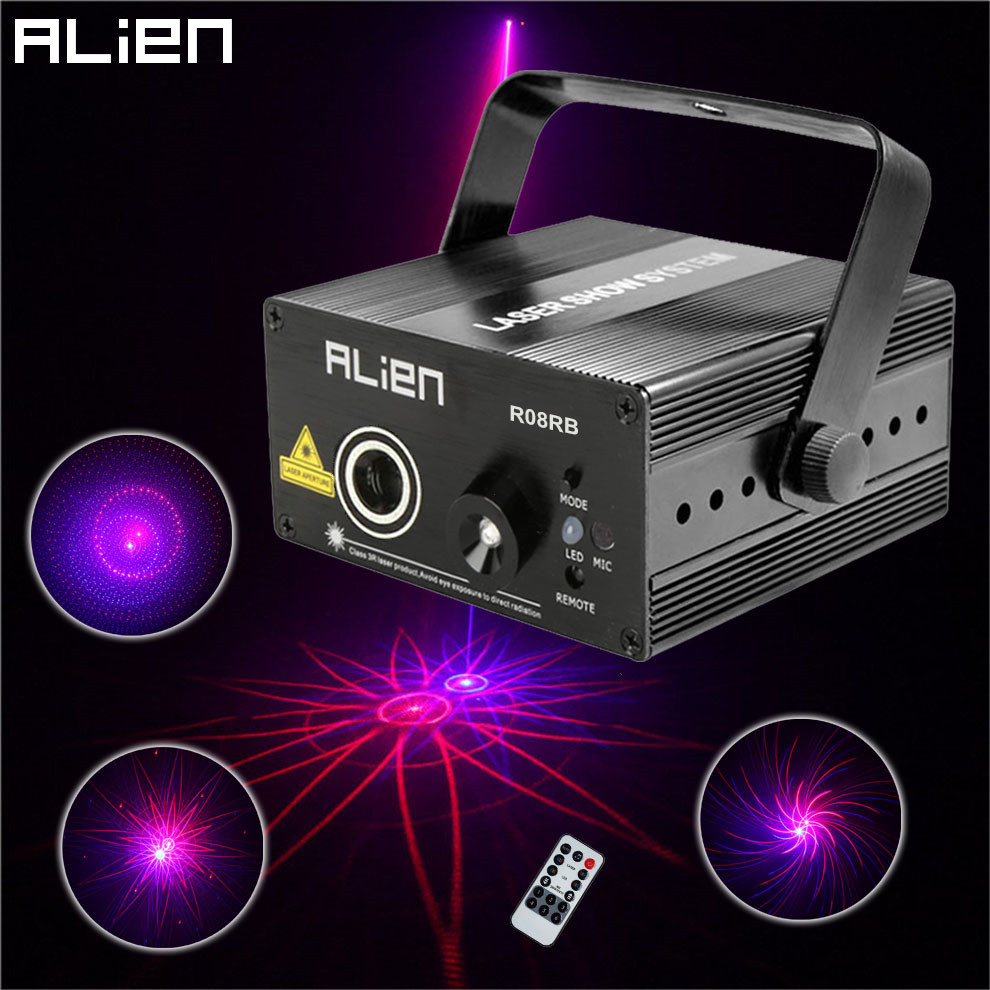ALIEN Red Blue 8 Gobo Mini Laser Light Projector Sound System Equipment DJ Disco Stage Lighting Effect Party Xmas Holiday Lights