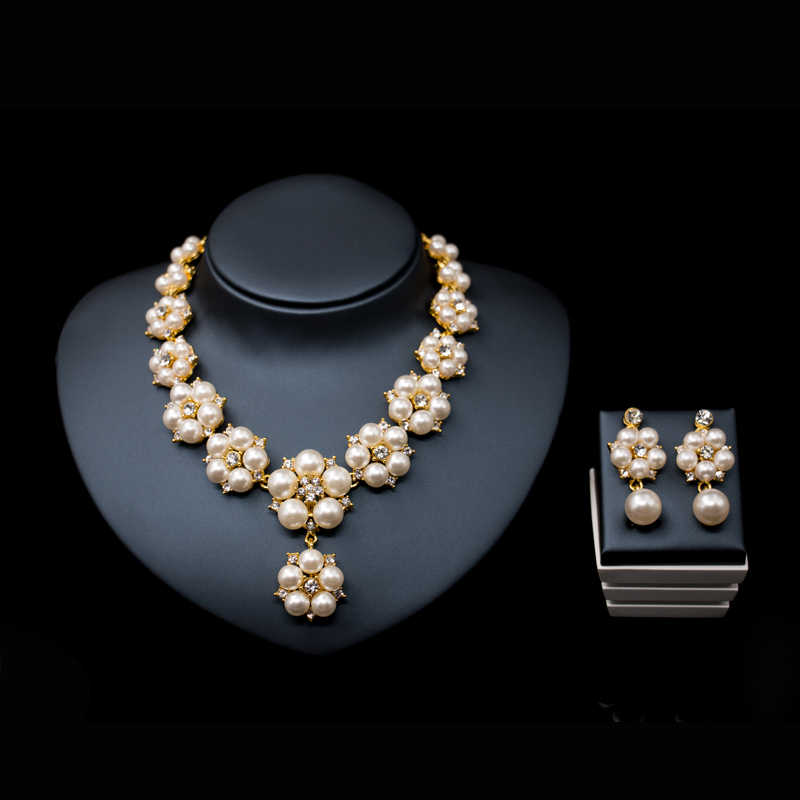 2016 new wedding african beads simulated pearl jewelry set gold color parure de bijoux necklace stud earring free shipping