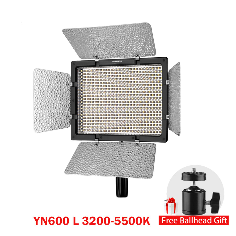 YONGNUO YN600L YN600 LED Video Light Panel with Adjustable Color Temperature 3200K-5500K photographic studio lighting photographic lighting led film light nicefoto mf 2000f video photo studio flash light lamp power 200w 5500k with dc ac input