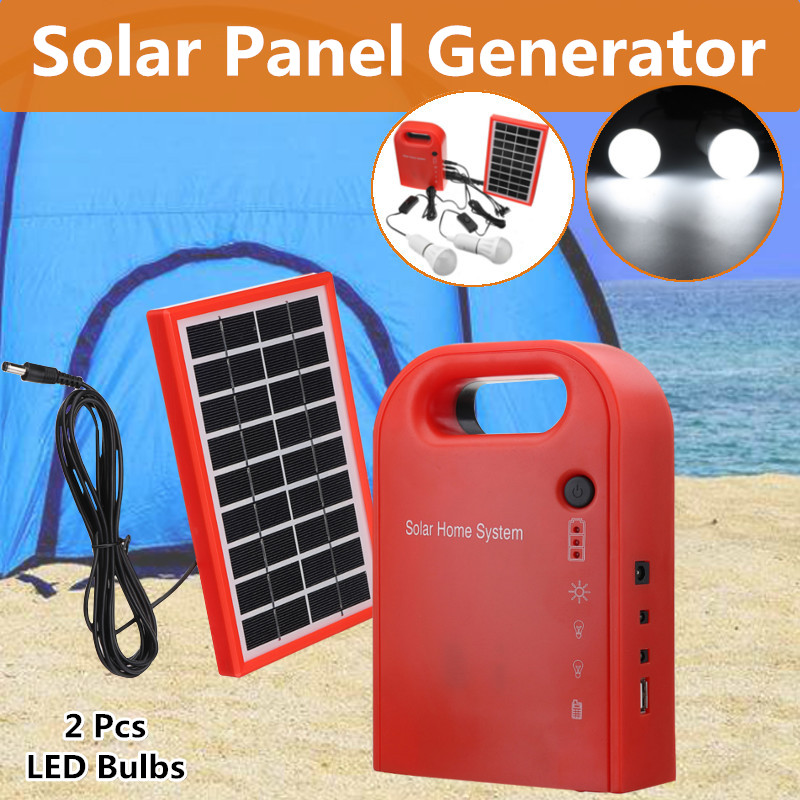 Portable Home Outdoor Small DC Solar Panels Charging Generator Power generation System with 2 LED light bulb 3W/9V