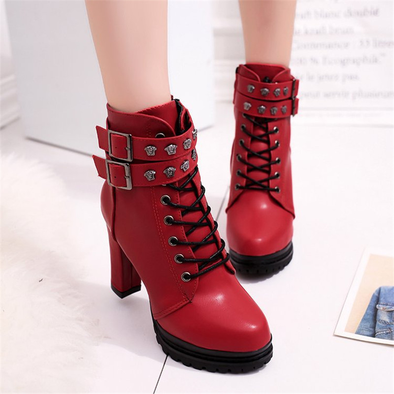 New Fashion Casual Women Boots Martin boots 2018 Autumn Winter Autumn Ankle Platform Ladies Boots PU Leather Shoes For Women Zip 4