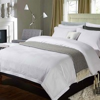 Five Stars Hotel 100 Cotton Luxury Bedding Set White Embroidered Hotel Duvet Cover Set King Queen