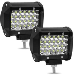 Image 4 - Barra de luces Led de 4 pulgadas, 72W, cuatro filas, 12V, 6000K, foco de trabajo para coche, luces de circulación diurna, luz de techo todoterreno modificada, decoración de coche