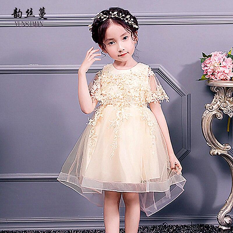 Nouveau enfants dentelle Tailed robe pour les filles 3-12 ans fleur Champagne rouge blanc dentelle robes de fête filles anniversaires vêtements 3A1I