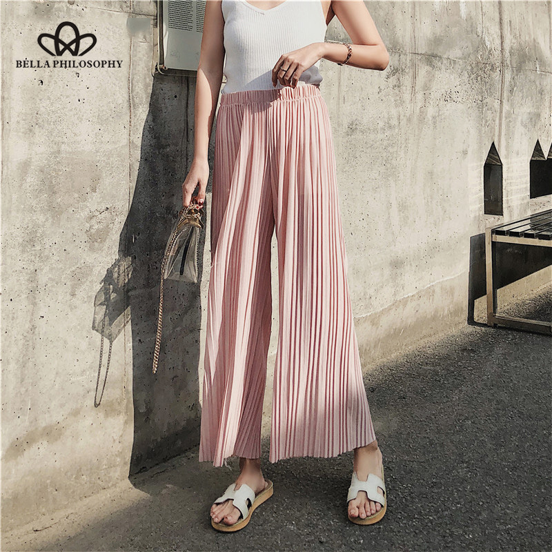 Bella Philosophy summer chiffon solid women casual   wide     leg     pants   loose pleated ankle length   pants   elastic waist bottoms   pants