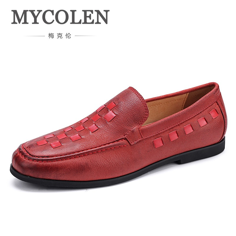 MYCOLEN Brand Men Shoes High-Grade Breathable Comfortable Men Loafers Luxury Men's Flats Men Casual Shoes Leather Woven new arrival high genuine leather comfortable casual shoes men cow suede loafers shoes soft breathable men flats driving shoes