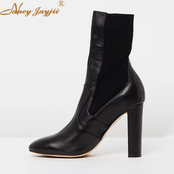 Genuine Leather Cow Leather Women Adult Lady Chelsea  Boots Black Solid Ankle Round Toe Super High Square heels Nancyjayjii 2019
