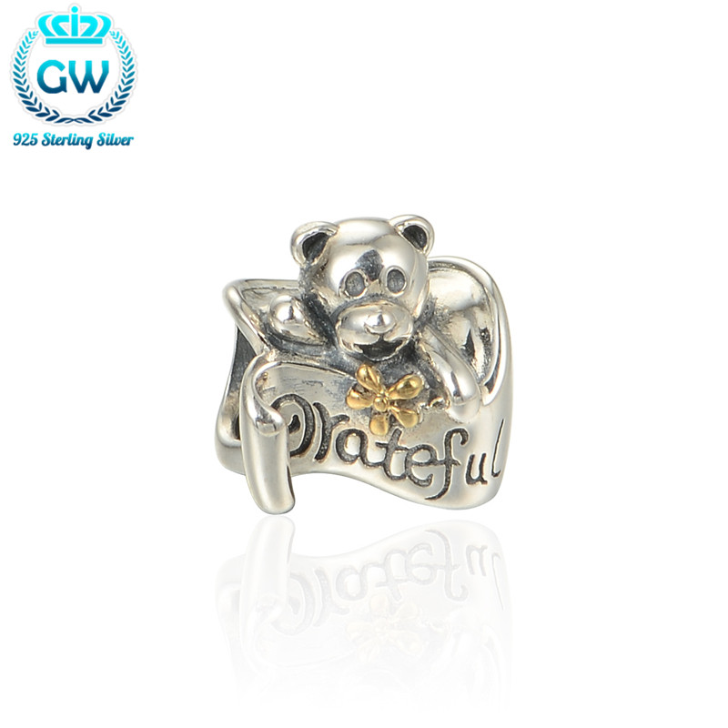 Silver 925 Charms Bear Grateful Golden Bow Knot Charm Fit Bracelet Loving Family Jewelry GW Brand