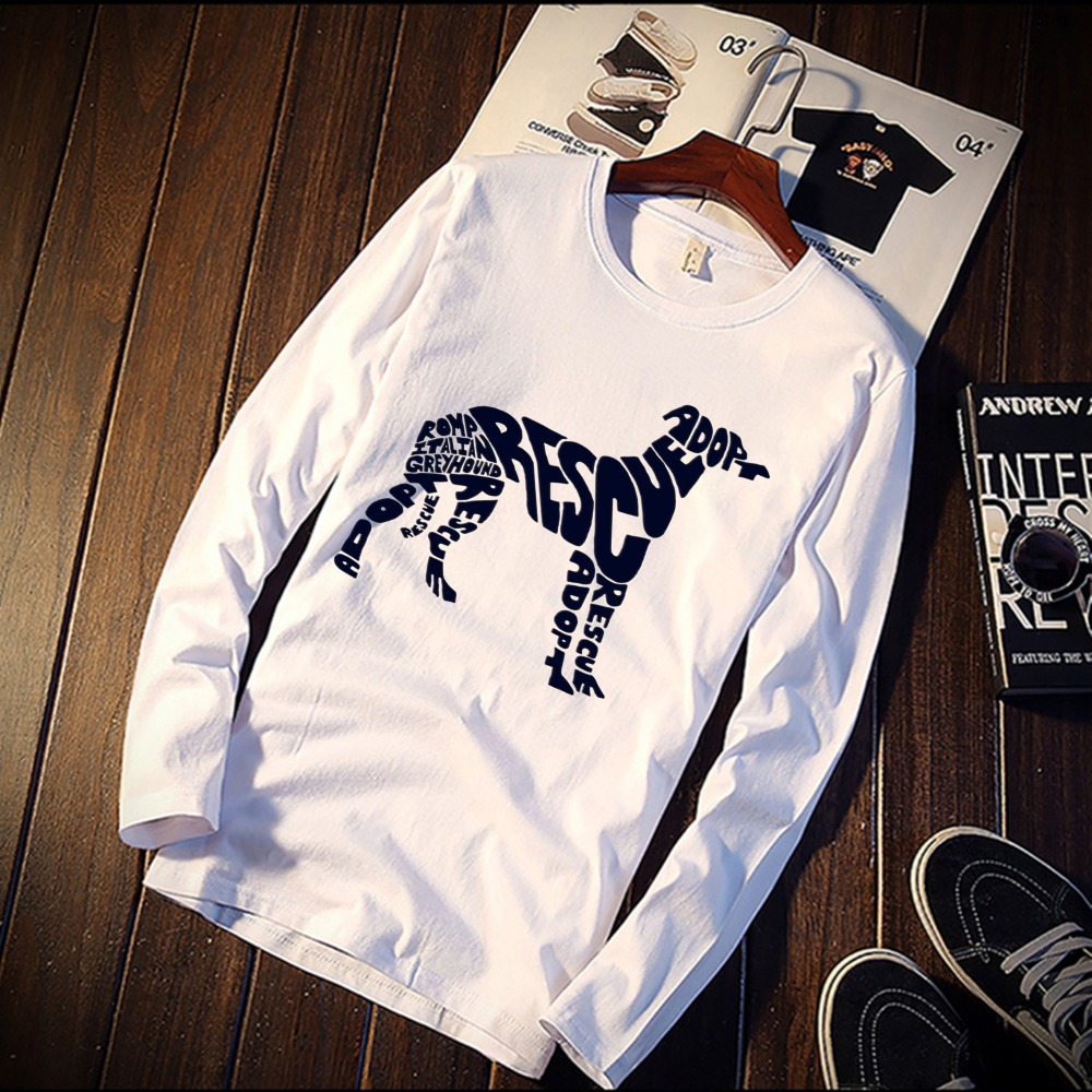 2018 Pure Cotton TShirt Funny  Greyhound Dog Simple Artwork Printed Long Sleeve Fashion Casual Tops & Tees Brand Unisex Clothing