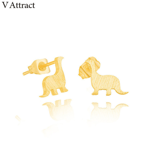 V Attract Stinless Steel Animal Jewelry Mini Dragon Stud Earrings For Women  Rose Gold Brinco Feminino Valentine's Day Present-in Stud Earrings from ...
