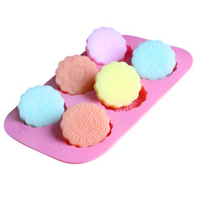 Circular round moon cake mold DIY hand made flower pattern silicone soap molds