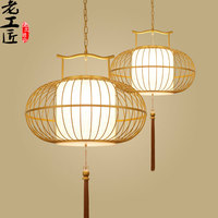 New Chinese Restaurant Antique Iron Cage Lamp Pendant Lights Hotel La Terrazza Teahouse Entrance Club Creative