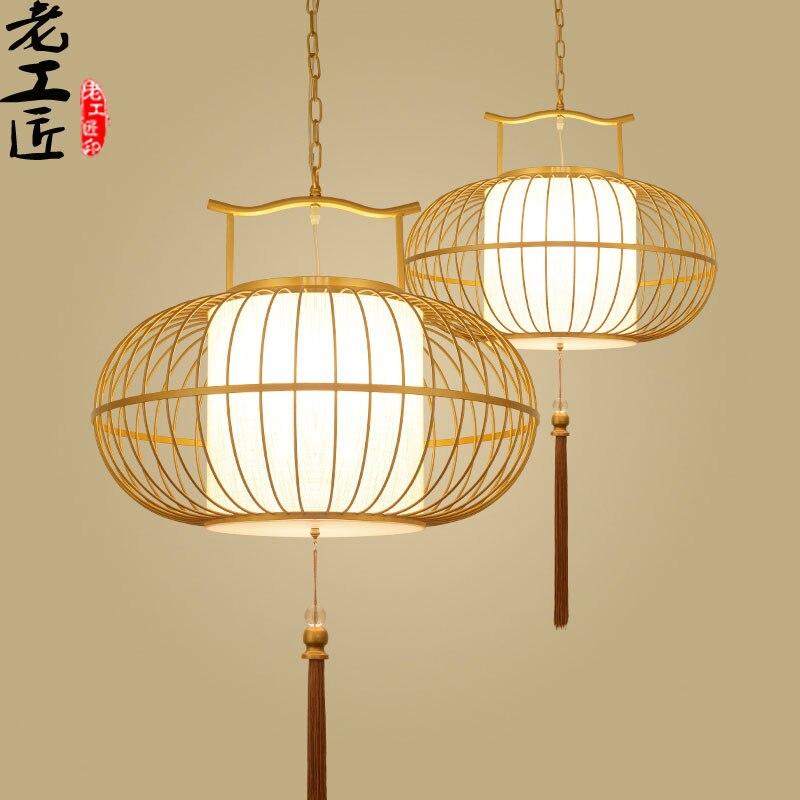 new 30-60CM Chinese restaurant Antique Iron Cage lamp pendant lights Hotel La teahouse entrance Club Creative birdcage lamps
