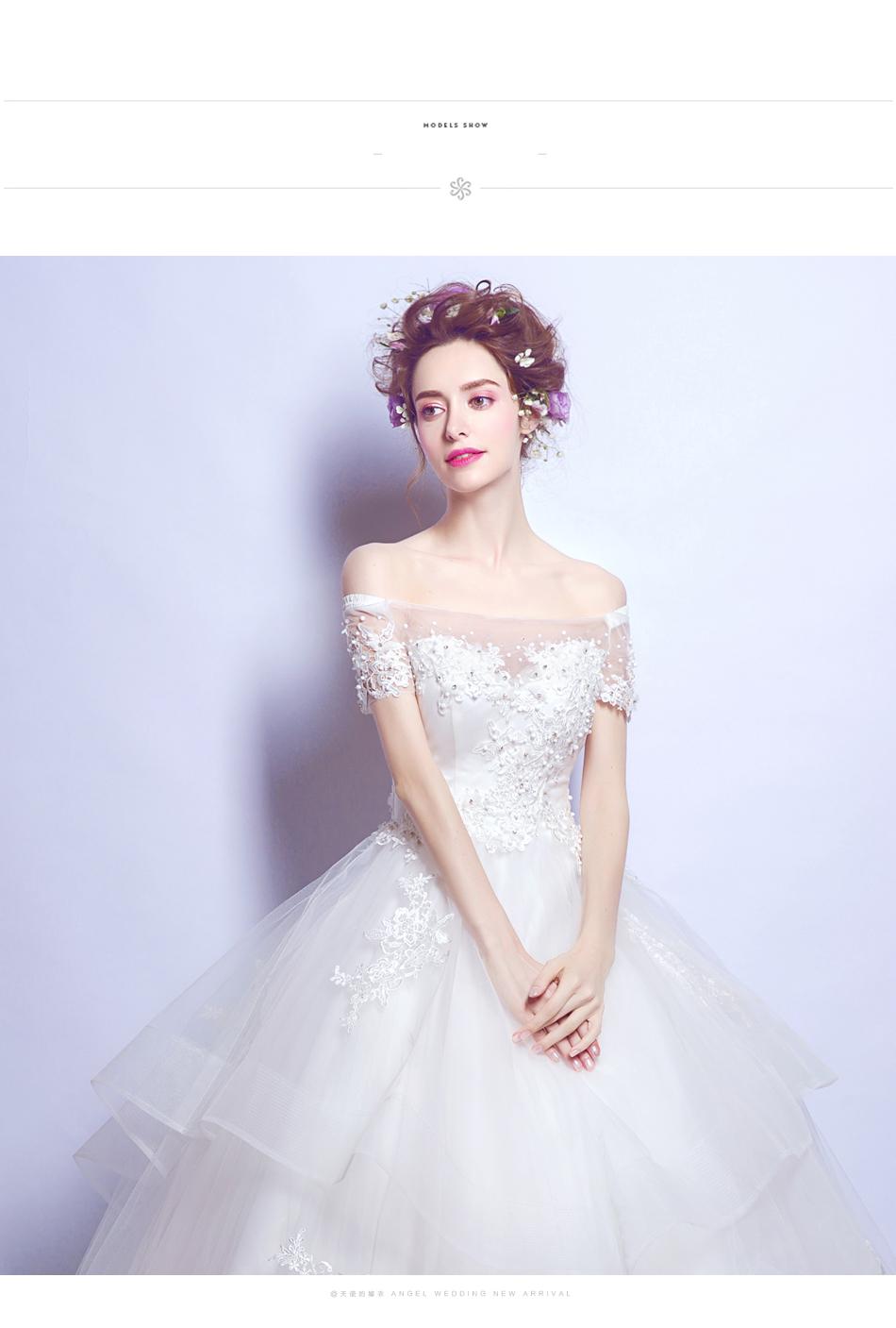Angel Wedding Dress Marriage Bride Bridal Gown Vestido De Noiva 2017 Boat Neck Nail, lace, 2129 9
