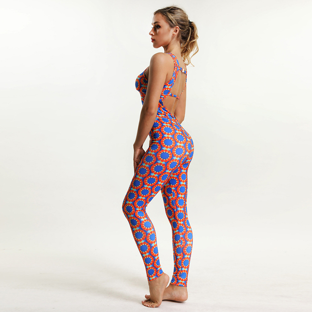 Geometric Printed One-Piece Yoga Set for Women