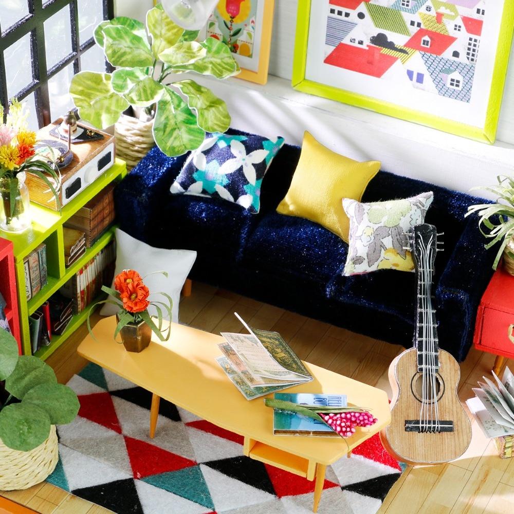 Robotime DIY Locus Sala de estar con muebles Niños en miniatura Casa - Muñecas y accesorios - foto 5