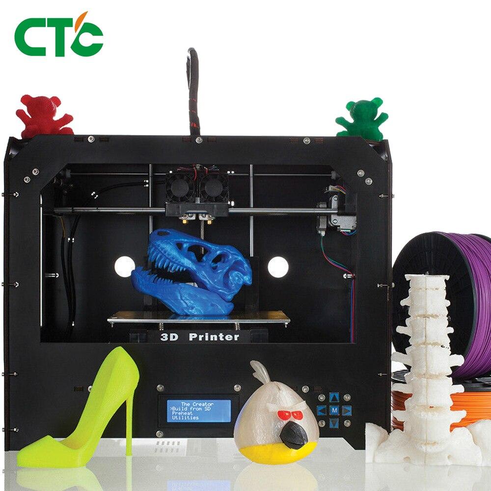 CTC 3D Printer Bizer I Improved quality full High precision dual extruder 3D Printer Machine assmbled wood frame