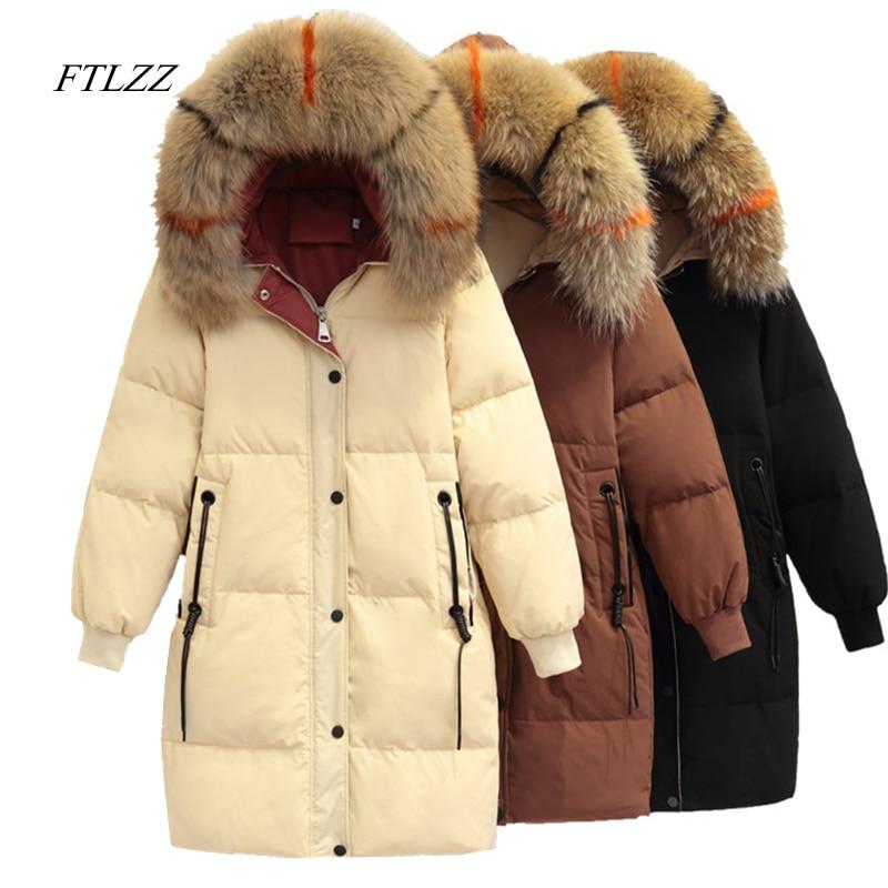 FTLZZ 2018 Winter Women New Jacket   Down     Coat   Hooded Medium long White Duck   Down   Parkas Fur Collar Loose Warm Overcoat