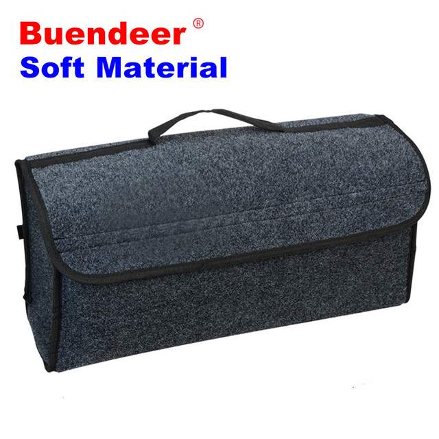Buendeer Car Soft Felt Storage Box Trunk Bag Vehicle Tool Box Multi-use Tools Organizer Bag Carpet Folding for emergency Box