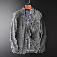 Minglu Men Casual Linen Suit Summer Thin Plus Size 4XL Slim Fit Grey Blazer Man Cotton And Linen Male Linen Suit Brand Clothing
