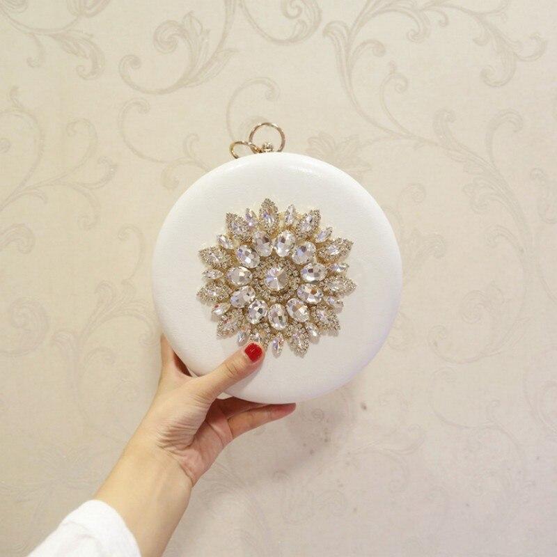 NEW Female Circular design handmade diamond evening clutch bags women shoulder Bags wedding clutch bags