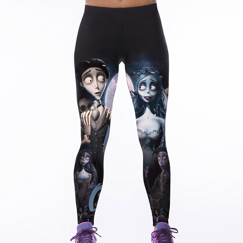 S-XXXXL Kvinnors Fitness Leggings Personlighet Skelett 3D Printed - Damkläder