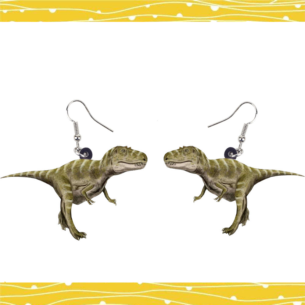 Tyrannosaurus Acrylic Dinosaur Earrings Jewelry Women Gift Gir Party French Steel Earring Kis Toy Men Loved New Pendant Charms
