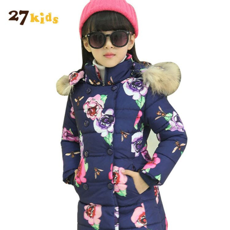 27Kids Girls coat jackets thick hooded fur collar down jacket children winter warm floral printed kids outerwear clothes Parkas