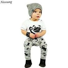 Niosung New 1Set Infant Toddler Baby Boys Cartoon Print T shirt Tops Pants Outfits Clothes 2pcs