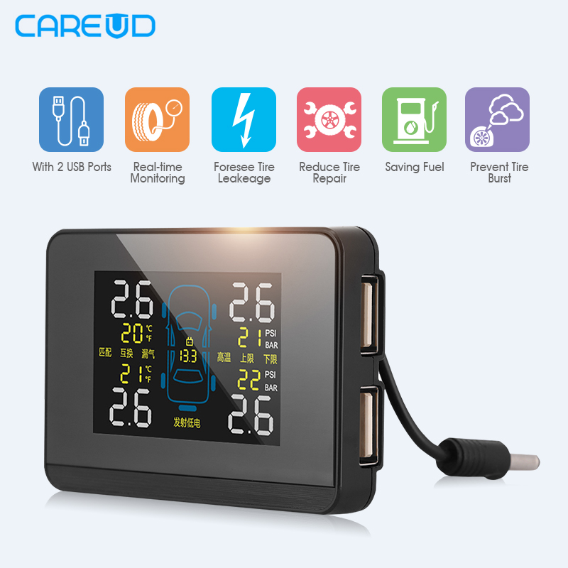 Newest CAREUD U906C Car TPMS 2 USB Ports for SmartPhone Charge Wireless Tire Pressure Monitor System+4 Sensors tpms tp620 car tire tire pressure alarm car tire diagnostic tool support bar and psi tire pressure monitor car electronics