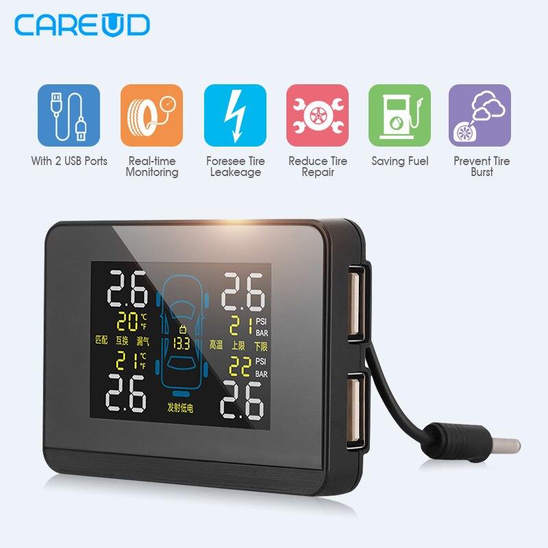Newest CAREUD U906C Car TPMS 2 USB Ports for font b SmartPhone b font Charge Wireless
