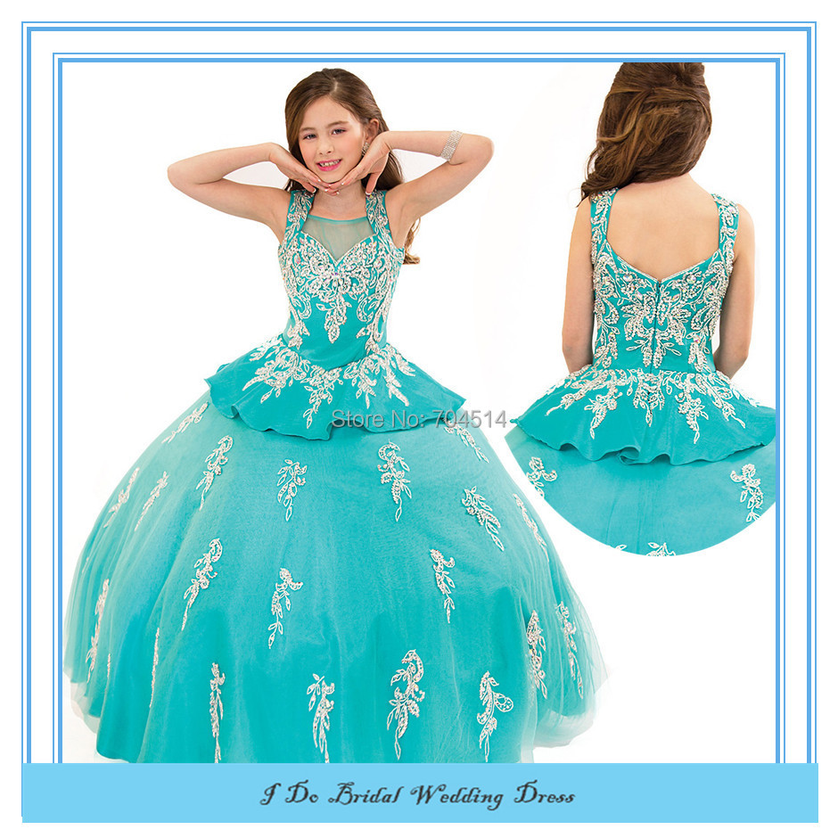 US $138.9 |New Plus Size Beauty Pageant Dresses for Little Girls Beaded  Kids Prom Gowns Tulle Tiered Flower Girls Pageant Dress 2015 RAPD05-in  Flower ...