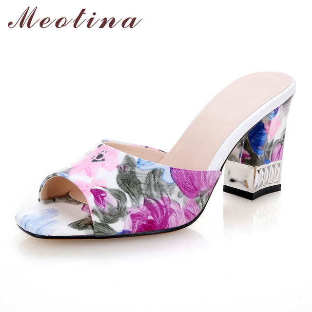 37bc4247b45df Meotina Shoes Women Sandals Summer Square Toe Slippers Casual Thick Medium Heels  Ladies Slides Print Purple