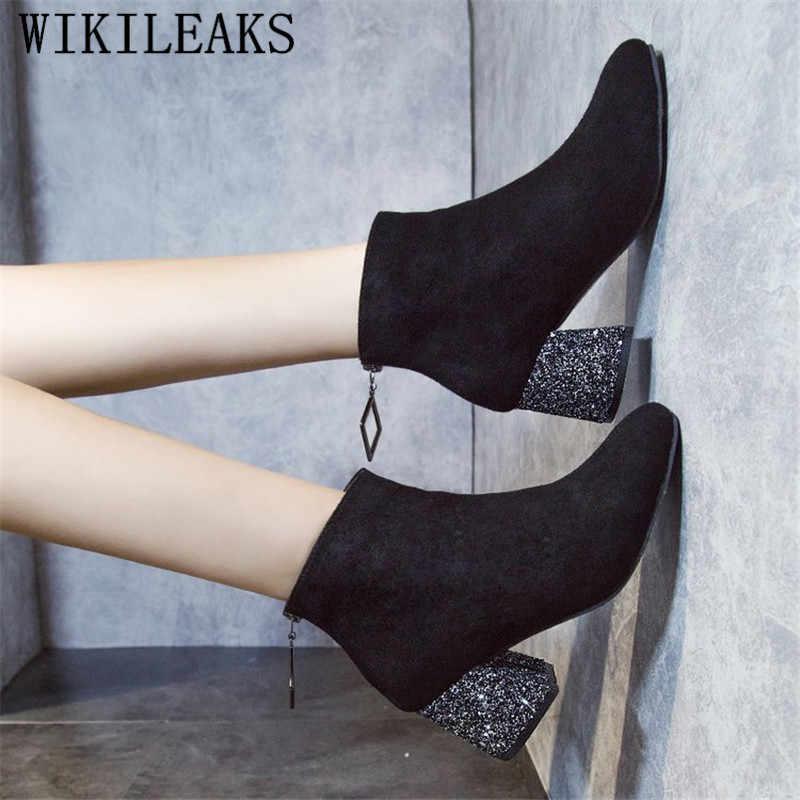 Neue Luxus Marke Herbst Winter Stiefel Frauen Schwarz Wildleder Leder Stiefeletten Für Frauen Starke Ferse Damen Schuhe Stiefel Bota feminina