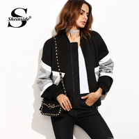 Sheinside Black Stand Collar Colorblock Casual Bomber Jacket Contrast Panel Zip Up 2018 Coats And Jackets Women Autumn Jacket
