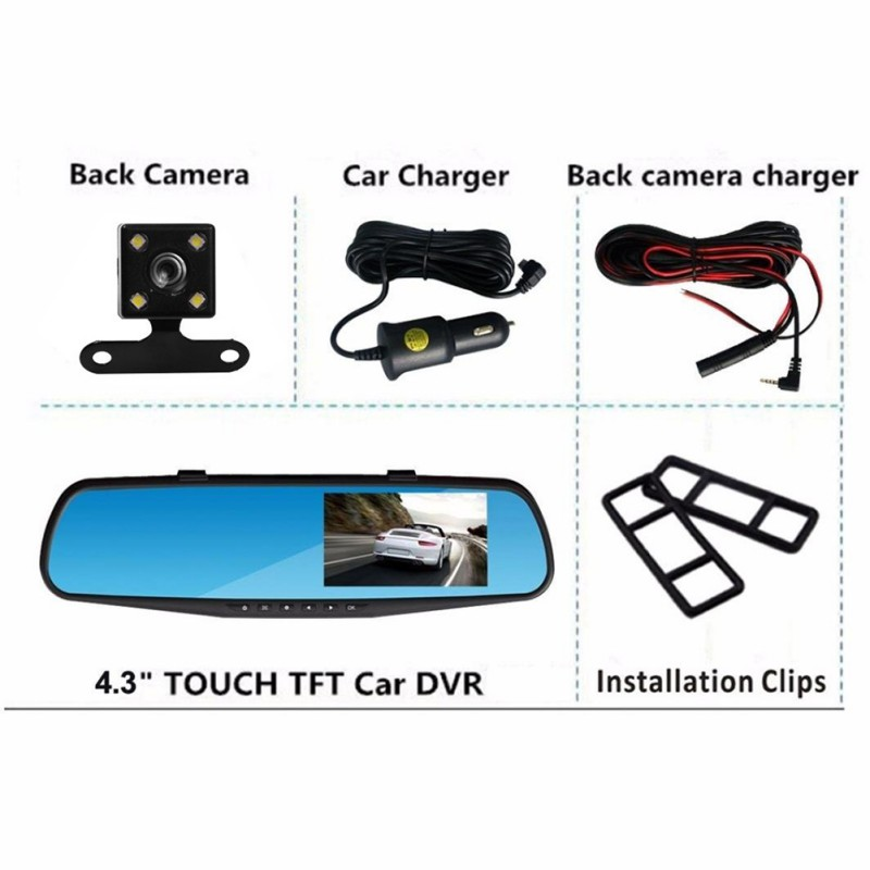 OELL 4.3-inch HD 1080P Rear-view Mirror Driving Recorder With Four Lights Rear Camera Memory Card Car Bus Gift Safe image