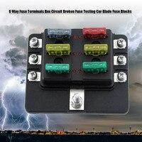 6 Way Fuse Terminals Box DC 32V Circuit Broken Fuse Testing Car Auto Blade Fuse Blocks