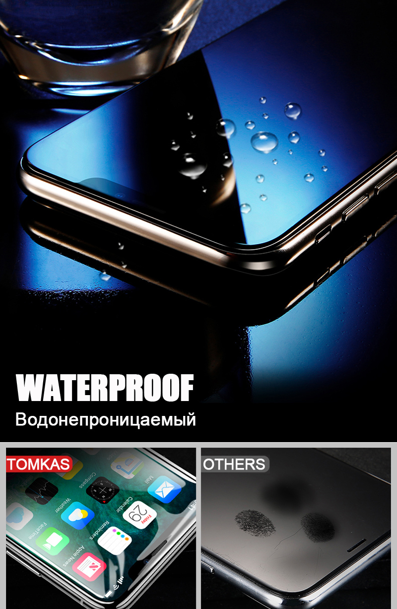 TOMKAS 5D Glass For iPhone X Screen Protector Film Curved Edge Full Cover Dust Proof For Apple iPhone X 10 Screen Protector