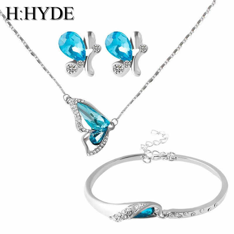 H:HYDE Elegant Blue Party Wedding Necklace & pendant  Earring Bracelet Sets Shiny Crystal Butterfly Jewelry Set For Women bijoux