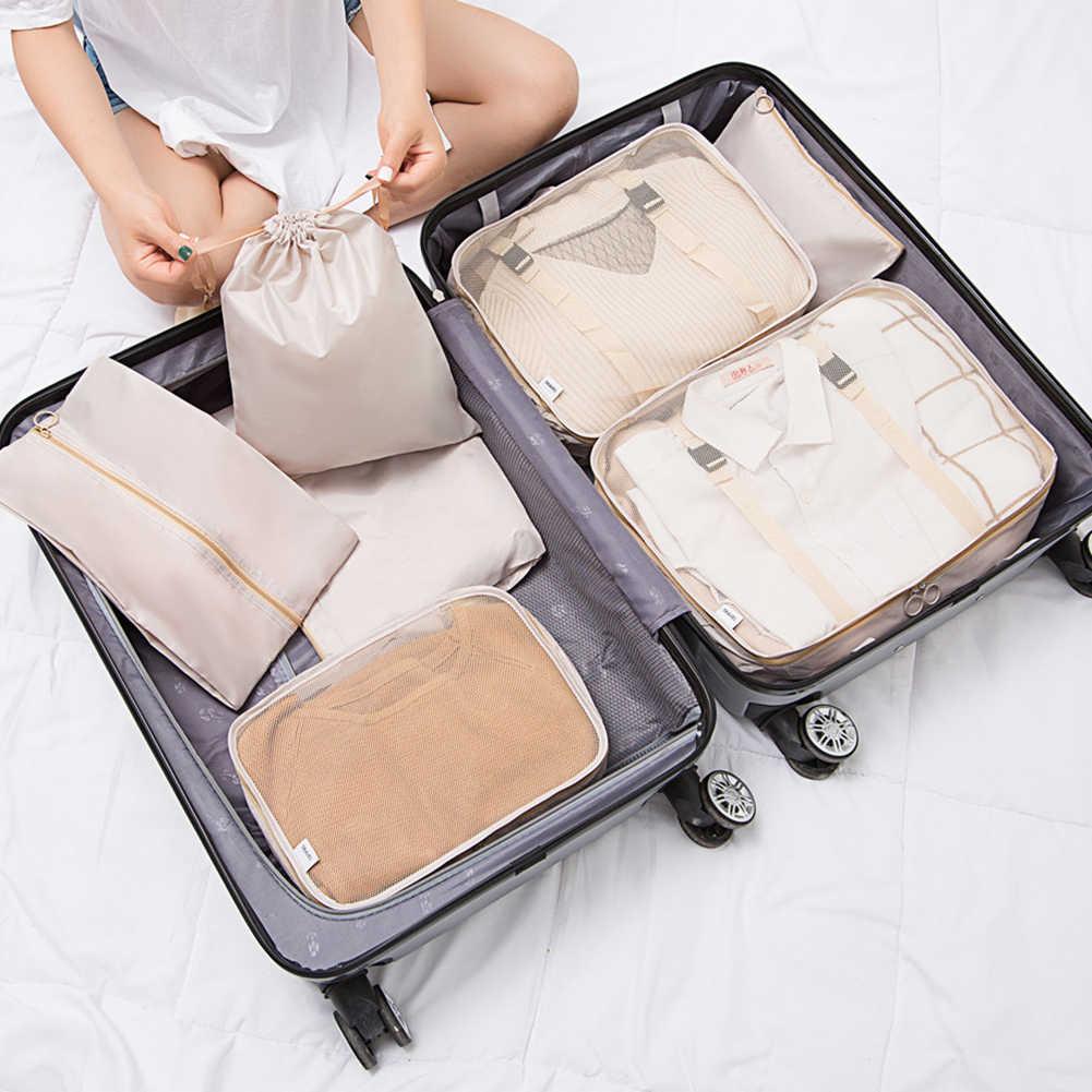 7 PCS Saco Conjunto De Armazenamento de Viagem À Prova D' Água Para O Pano Roupeiro Organizador Tidy Bolsa Mala de Viagem Saco Organizador Caixa de Sapatos Embalagem