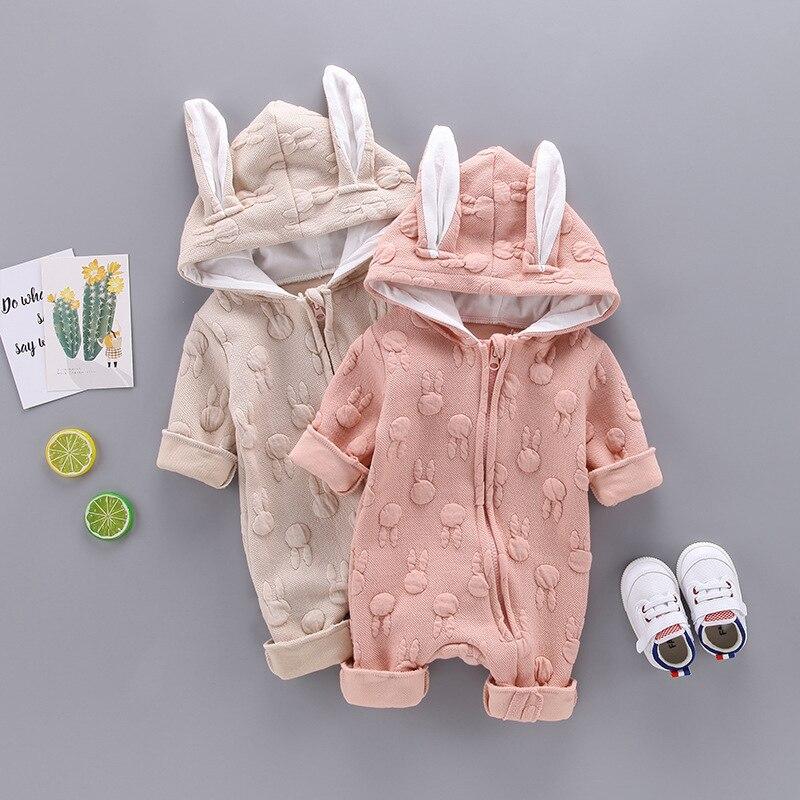 ebcbb439e57 Lindo bebé recién nacido niños niñas manga larga conejo orejas mameluco mono  trajes otoño invierno cálido Diagonal cremallera ropa. (1) ...