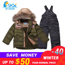 BUY 1 GET 1 SCARF FREE -30 degrees SP-SHOW Winter 90% White down suit nature fur Windproof Russian Warm Thick fleece Down suit(China)