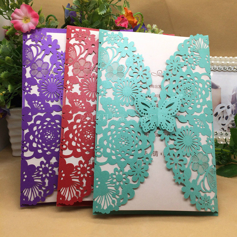 10Set Butterfly Wedding Invitation Cards Multi Color Laser Cut Bussiness  Cards Party Souvenirs Wedding Centerpieces