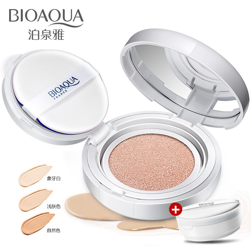 Bioaqua Air Cushion BB&CC Cream Foundation Wet Powder Concealer Whitening Moisturizing Brighten Sunscreen Bare Makeup 15g